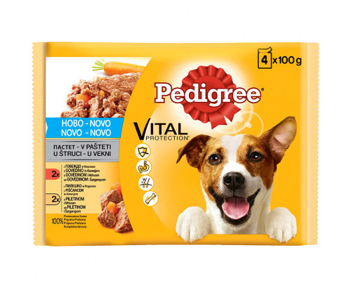 Храна за кучета Педигри 4х100г Пастет Говеждо и пилешко месо с моркови