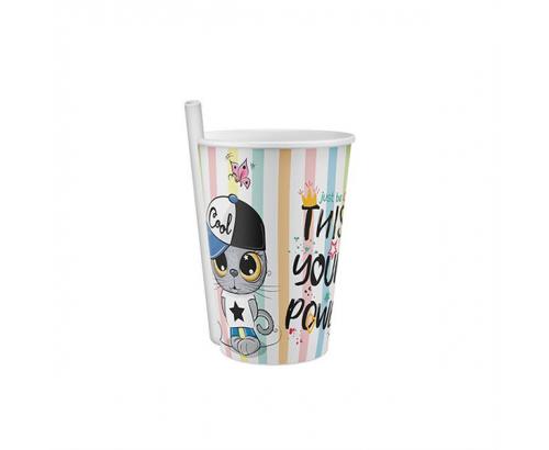 Чаша със сламка 400мл