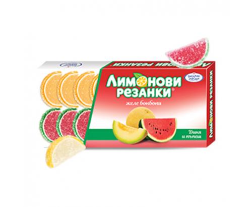 Желе бонбони Лимонови Резанки 180г Диня и пъпеш