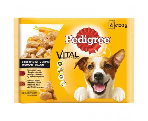 Храна за кучета Педигри 4х100г Пауч Говеждо и агнешко месо/Пуешко и моркови