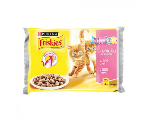 Храна за котки Фрискас Джуниър 4х100г Пауч Пилешки хапки в сос