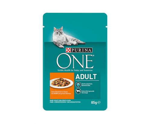 Храна за котки Пюрина 85г Пауч Пилешко месо и зелен боб