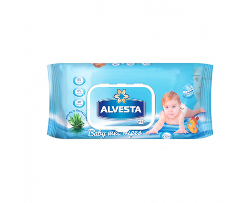 Бебешки влажни кърпи Алвеста 72бр