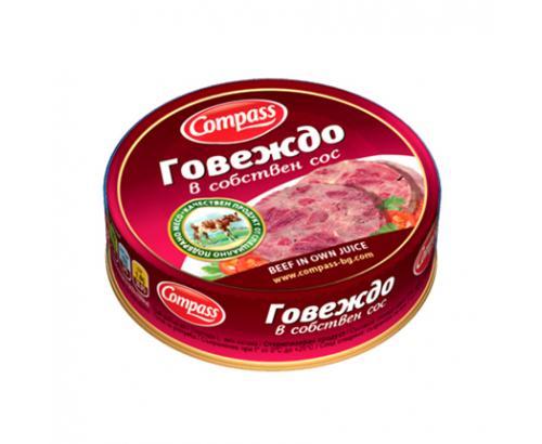 Телешко месо в собствен сос Компас 180г
