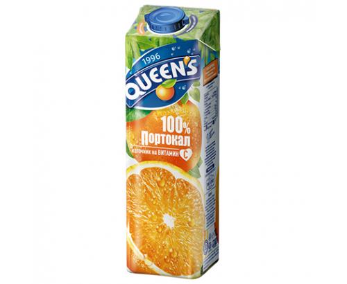 Натурален сок Куинс 1л 100% Портокал