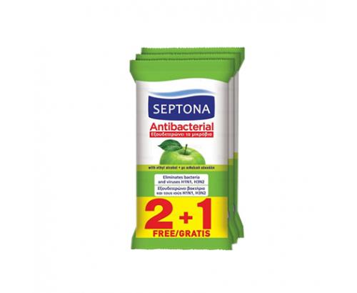 Мокри кърпи Септона 2+1бр Антибактериални Ябълка